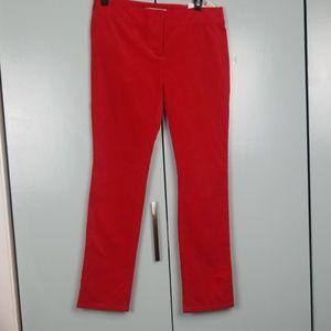 LOFT Bright Red velvet skinny pants size 2P  -C8